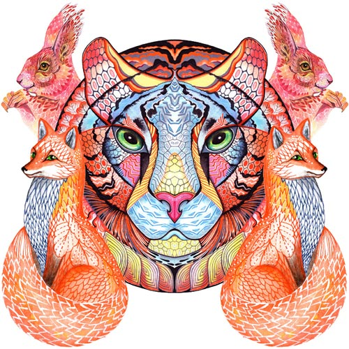 Wild Animals - Out of the wild and into your home. Works depicting wild animals in diverse colours, patterns and forms.
