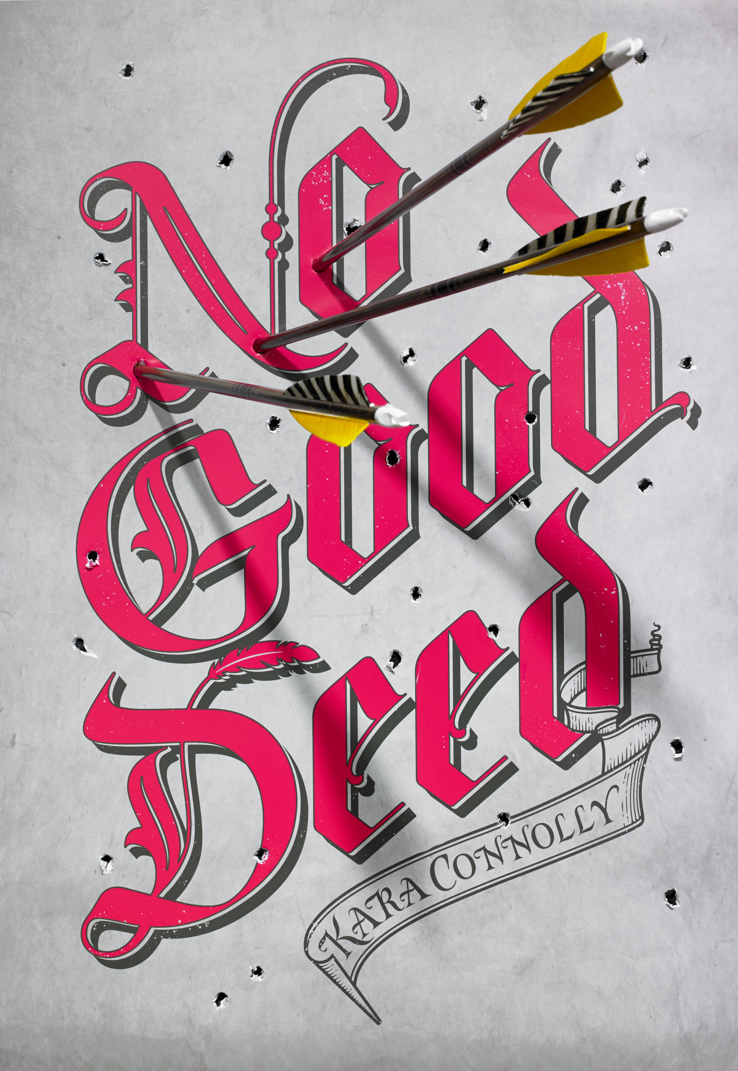 Killed comp / Alternate cover. This was one of my favorite processes. I printed out an epson of the hand-lettered cover—with just the type—and then we photographed real arrows piercing through it.   Photography by Christine Blackburne.  Hand-lettering by GingerMonkey.