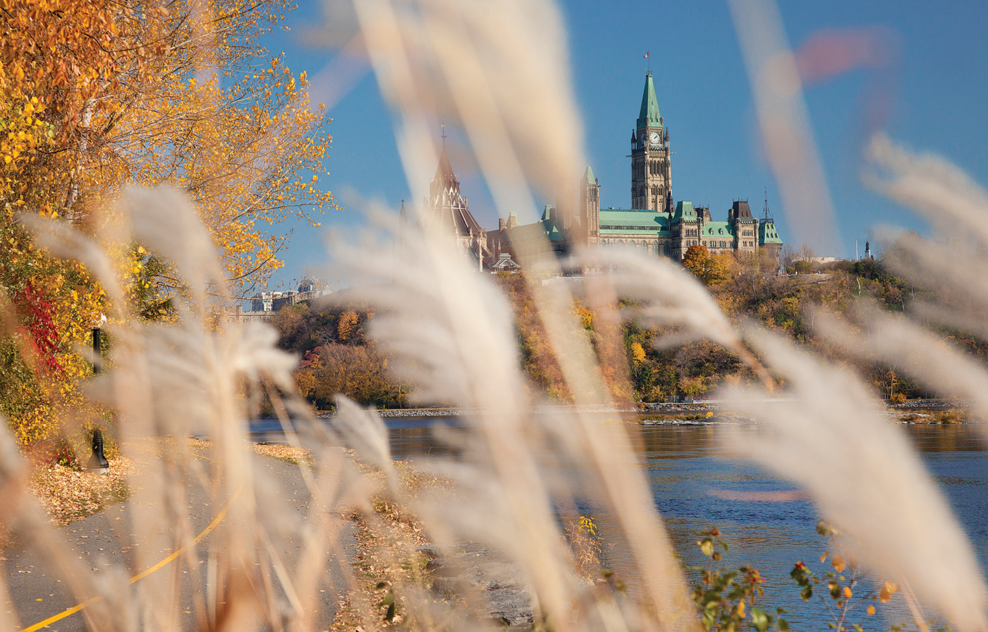 Parliament Hill in the fall canvas   $160.00  29 inches W x 18 inches H x .75 inch D Photo canvas of Parliament Hill. White border.