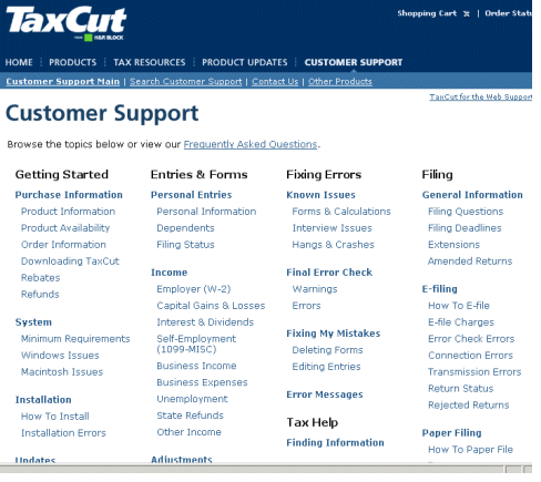 TaxCut Support Site