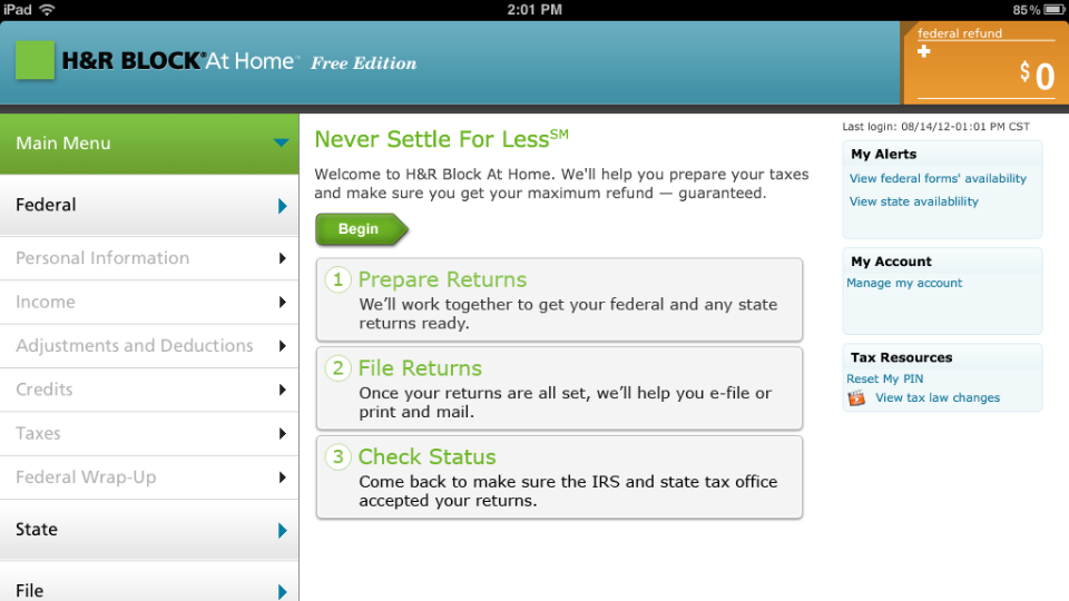 iPad Tax Prep    Design an iPad tax preparation app as part of the H&R Block At Home suite of tax preparation products.   Tasks:  Conceptual Design, Interaction Design, Collaboration with Visual Designers and Vendors   Deliverables:  Wireframes, Workflow Diagrams