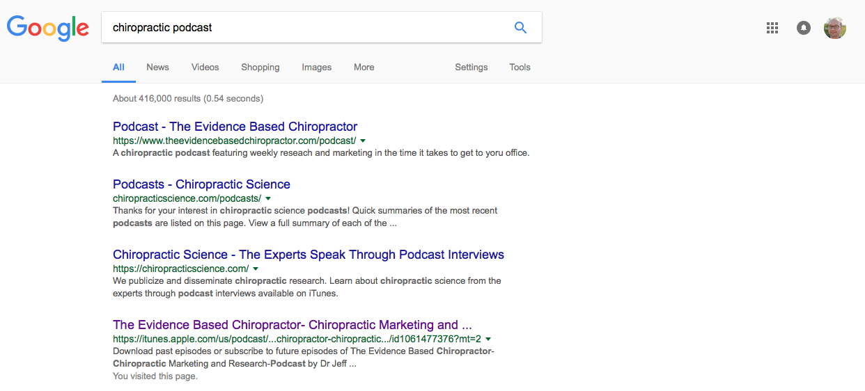 """(yep, The Evidence Based Chiropractor has 2 of the top 4 search results for """"chiropractic podcast"""")"""