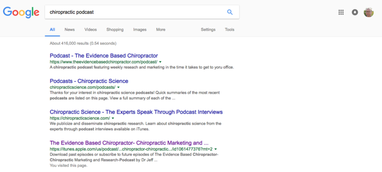 "(yep, The Evidence Based Chiropractor has 2 of the top 4 search results for ""chiropractic podcast"")"