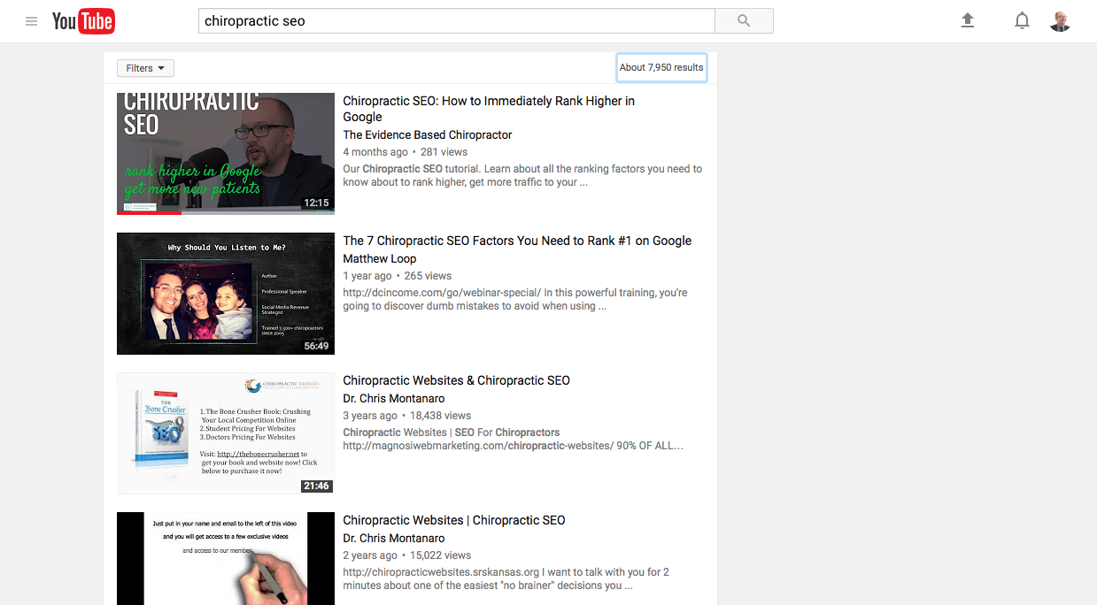 """SEO helped me get to the top of """"chiropractic seo"""" when searched on Youtube"""