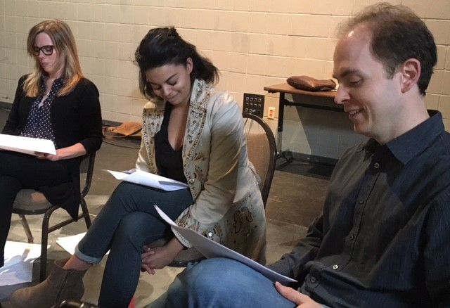 Michelle O'Neill (left), Alyssa DiVirgilio, and Stuart Gates facilitating an  On Stage discussion about  We are the Levinsons at Concordia University (THR 446: Theatre History, Theory and Literature).