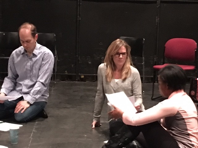 Stuart Gates (left), Michelle O'Neill and Kiara Jackson facilitating an  On Stage discussion about  We are the Levinsons at The University of Minnesota (TH 1321: Beginning Acting: Fundamentals of Performance).