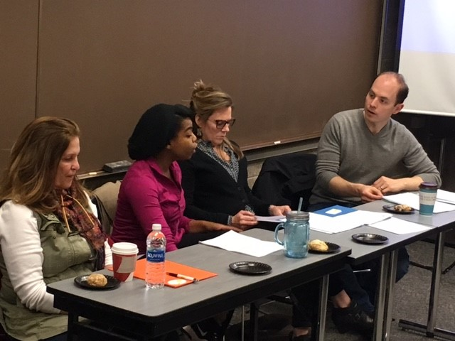 Wendy Kout (left), Kiara Jackson, Michelle O'Neill and Stuart Gates facilitating an  On Stage discussion about  We are the Levinsons at Bethel University (ENGL 100: Intro to Creative Writing).