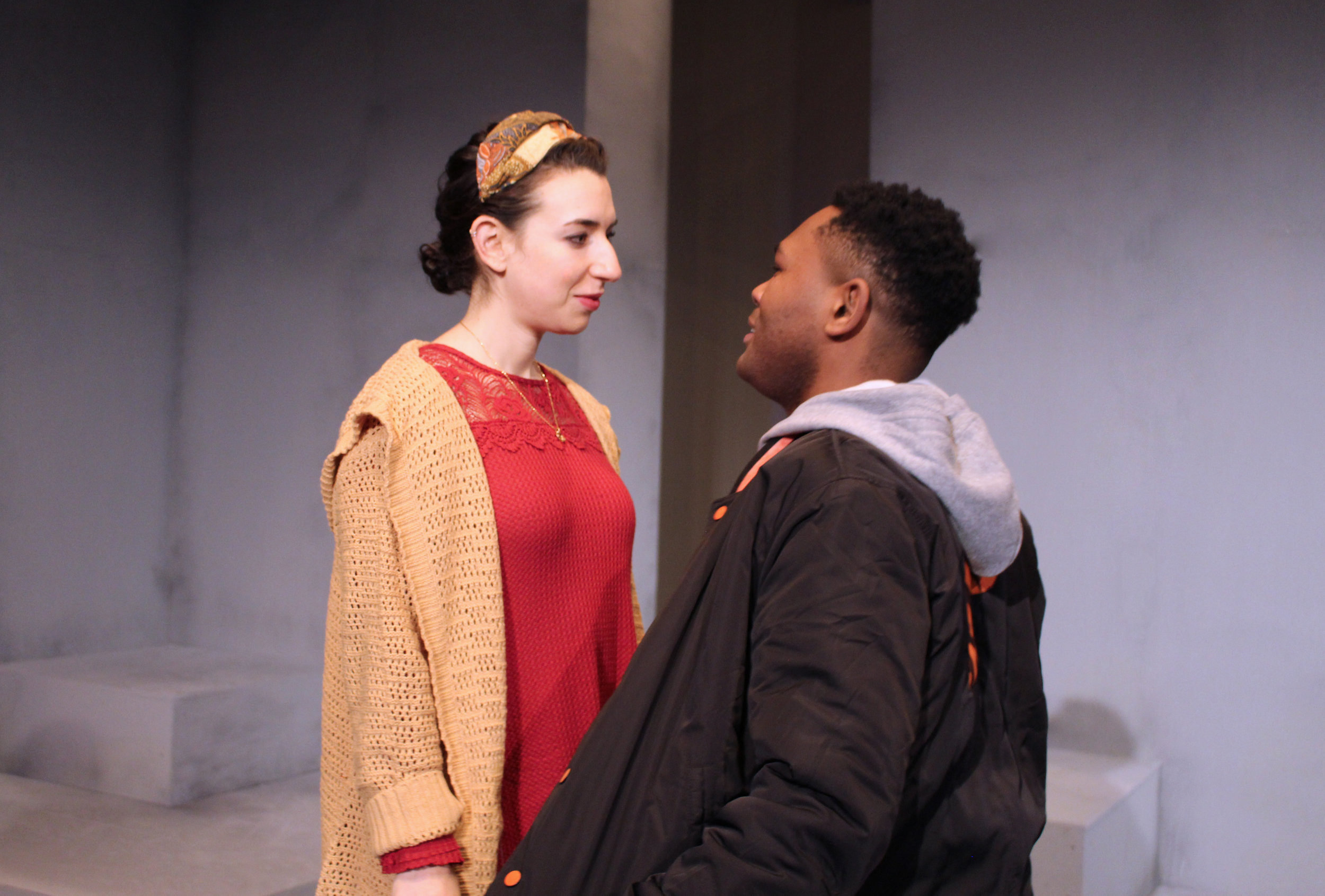 "MINNESOTA JEWISH THEATER COMPANY Miriam Schwartz and JuCoby Johnson in ""Actually."""