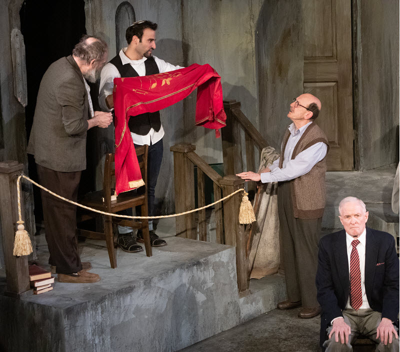 "Charles Numrich, Avi Aharoni and Raye Birk in ""Shul"" at the Minnesota Jewish Theatre Company. Photo credit: Sarah whiting"