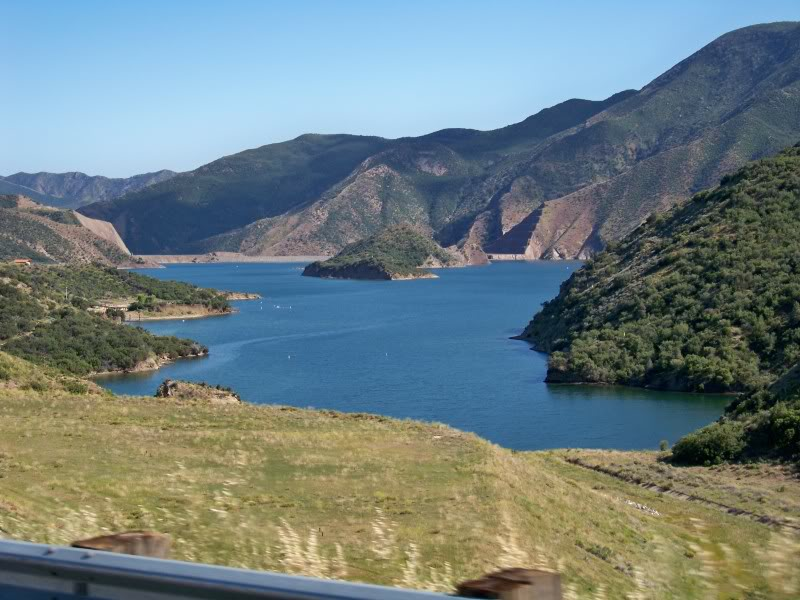 This southern California manmade lake is right alongside interstate 5 approximately 56 miles north of Los Angeles.