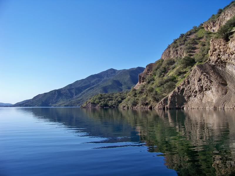 This deep canyon reservoir is upstream from Castaic; the two lakes exchange water to generate hydroelectric power.