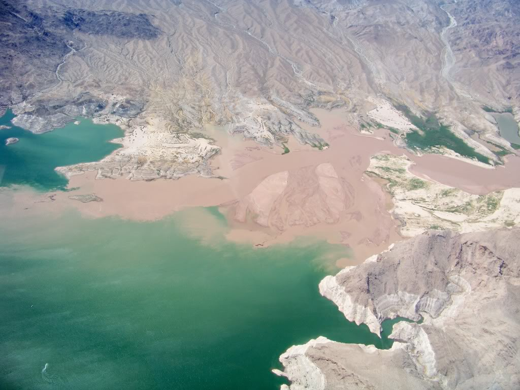 Colorado River and its muddy sediment entering Lake Mead. The water at Mead can take on a greenish tint from the high copper content in the rock.