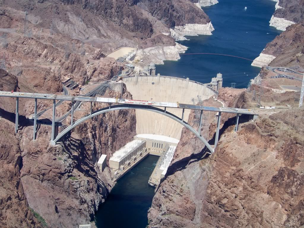 New bridge construction spanning the Colorado River below the Hoover Dam on Highway U.S. 93, Black Canyon Lake Mead above the dam.
