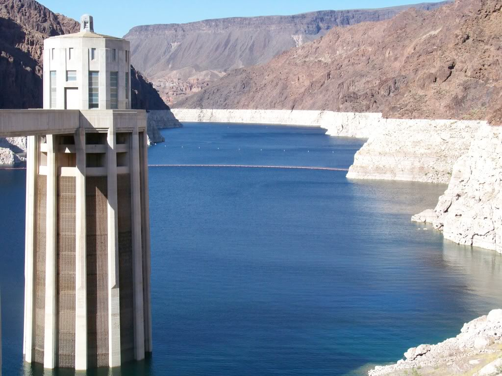 Looking north from the Hoover Dam into Black Canyon