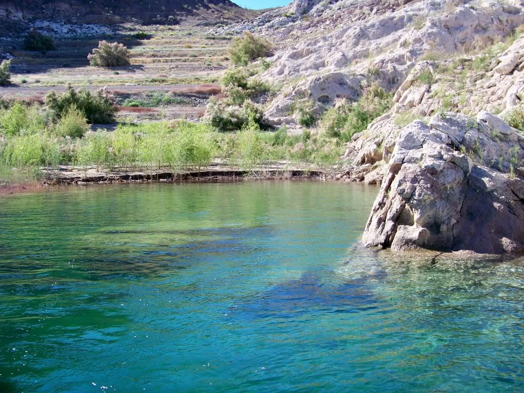 Boulders in clear water