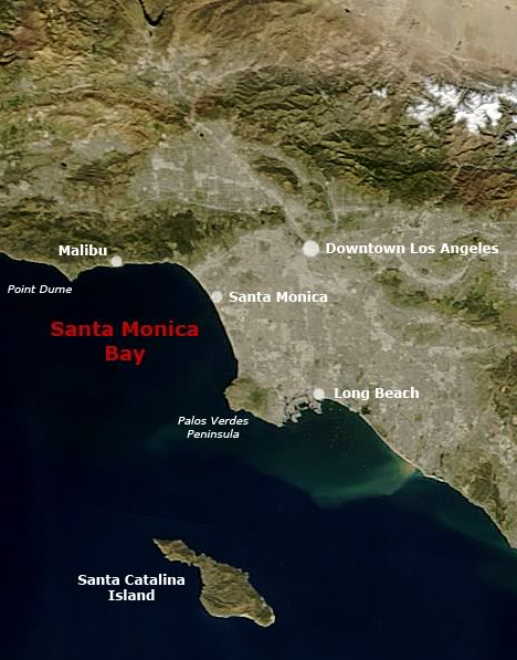 Santa Monica Bay, an arm of the Pacific Ocean, is located along the coast of southern California. Its boundaries are considered to be the Pacific Ocean east of an imaginary line drawn from Point Dume in Malibu to the Palos Verdes Peninsula.