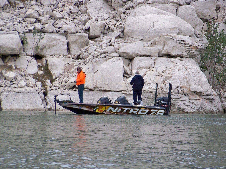 Rick Clunn pre-fishing Rough Canyon