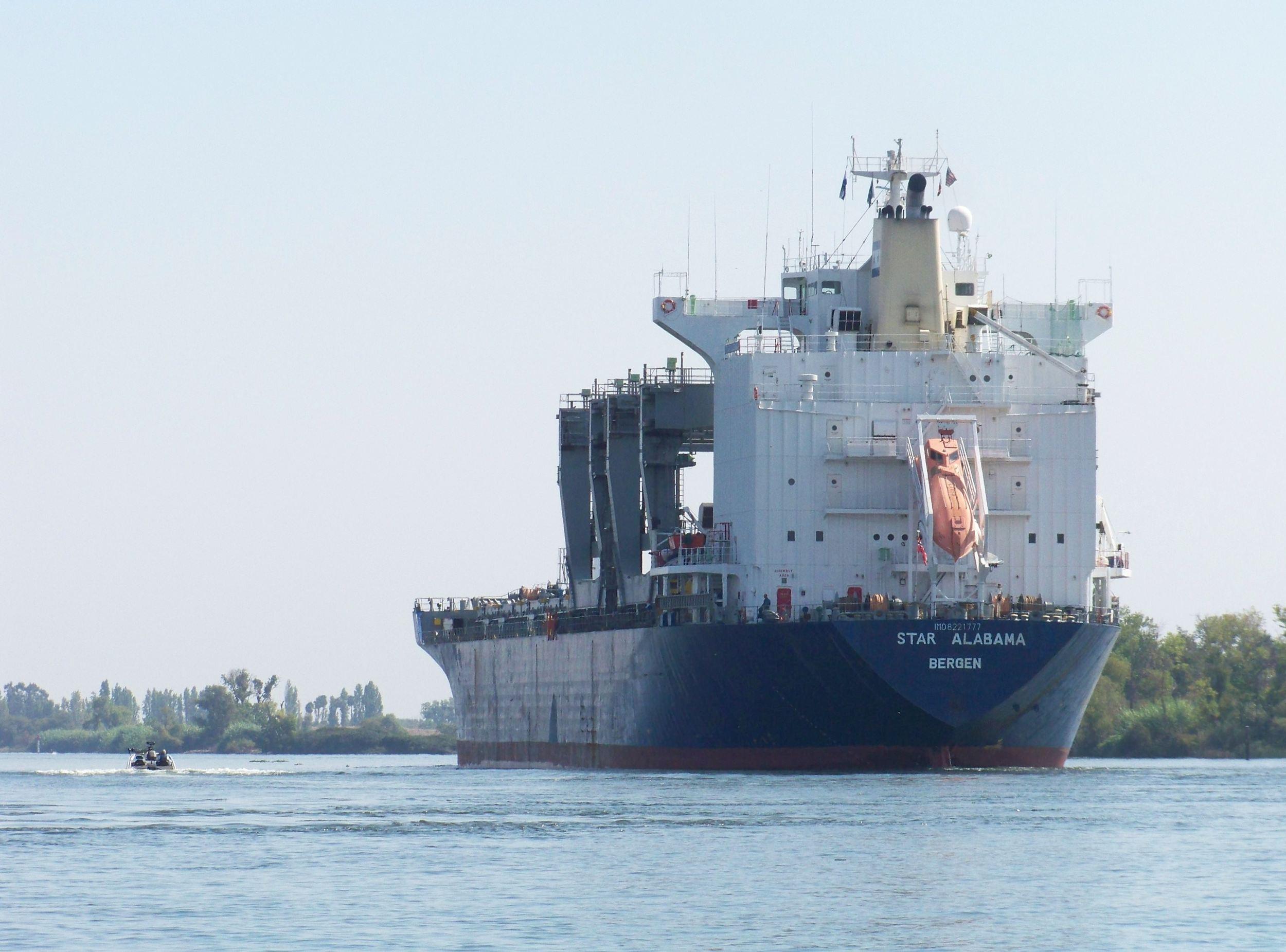 Large vessel on the San Joaquin River heading to Stockton