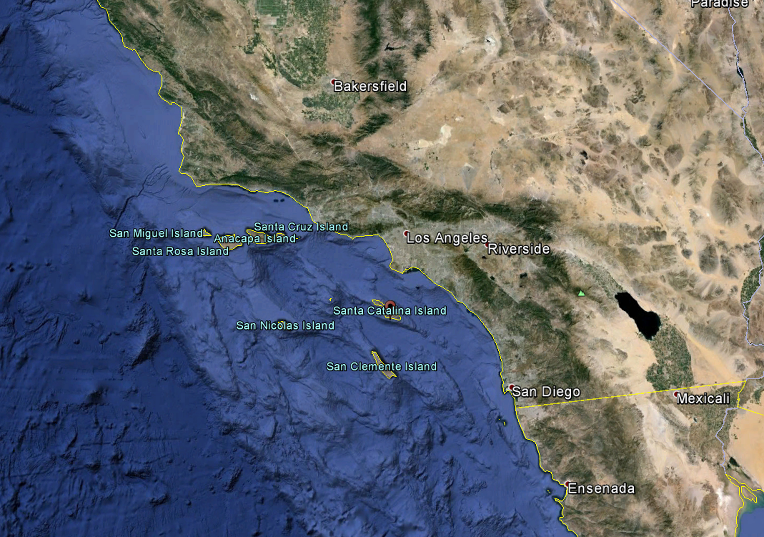 Satellite image showing a portion of the Southern California coast and the Channel Islands