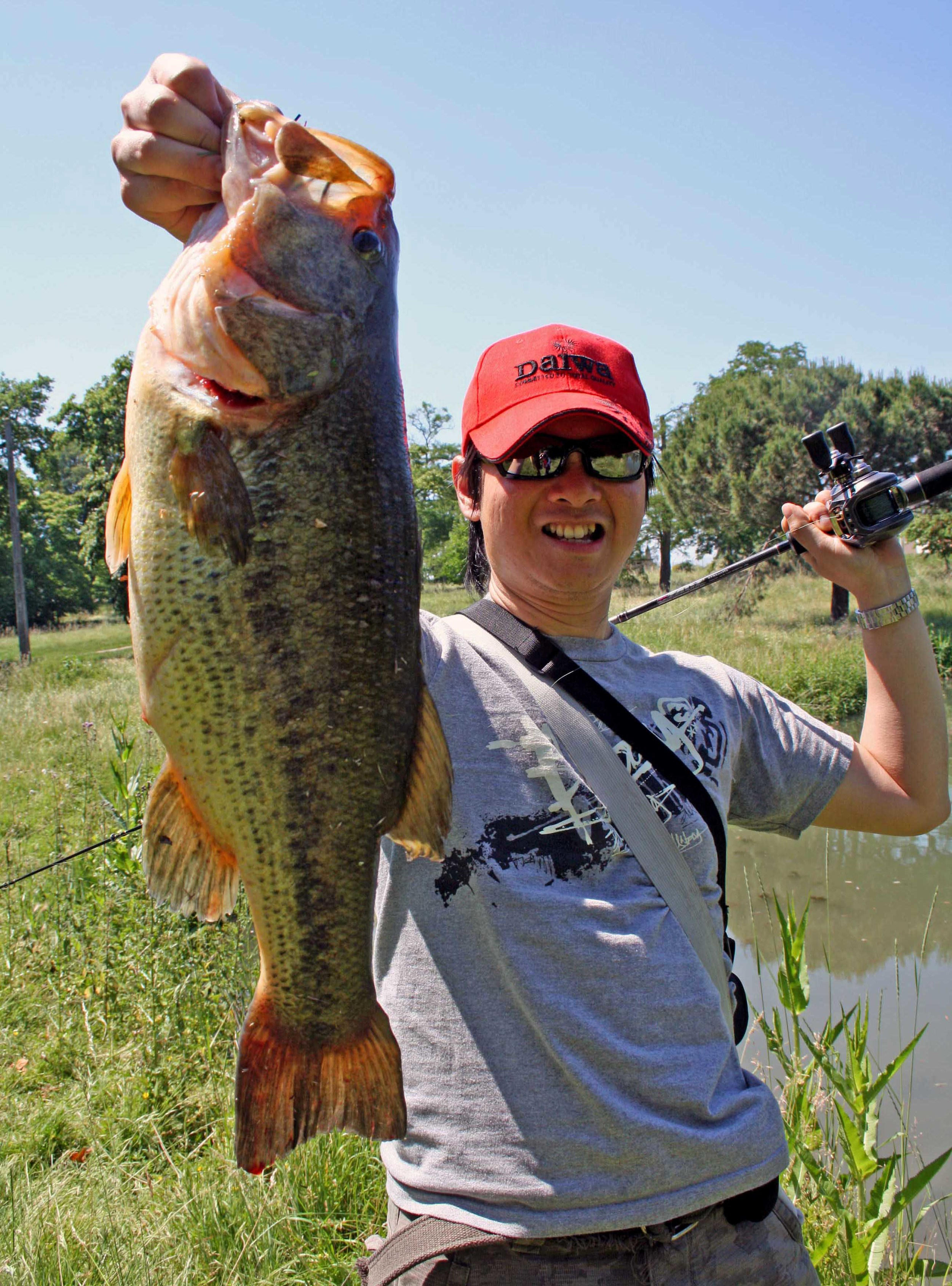 """At the right vantage point, you won't have problems spotting this fish in muddy water. I caught this lunker on a North Star Custom Bait 3/8oz football head jig with 4"""" Yo-Mama Craw trailer."""