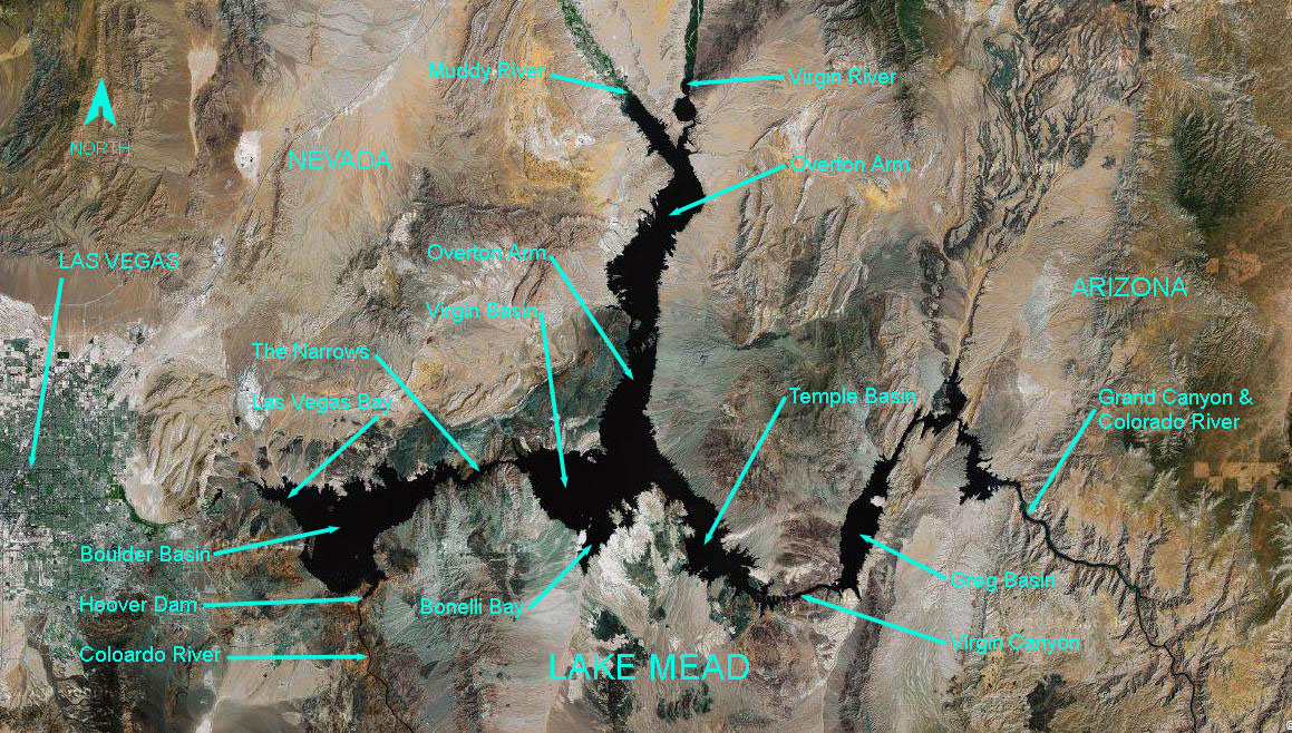 At full pool Lake Mead is 112 miles long, and has 759 miles of shoreline.