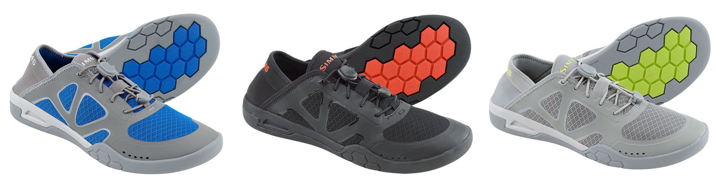 Simms Currents Shoe, available in three colors, sizes 7 to 14 whole/half sizes, D width. Approximate pair weight (size 11): 20.8 ounces