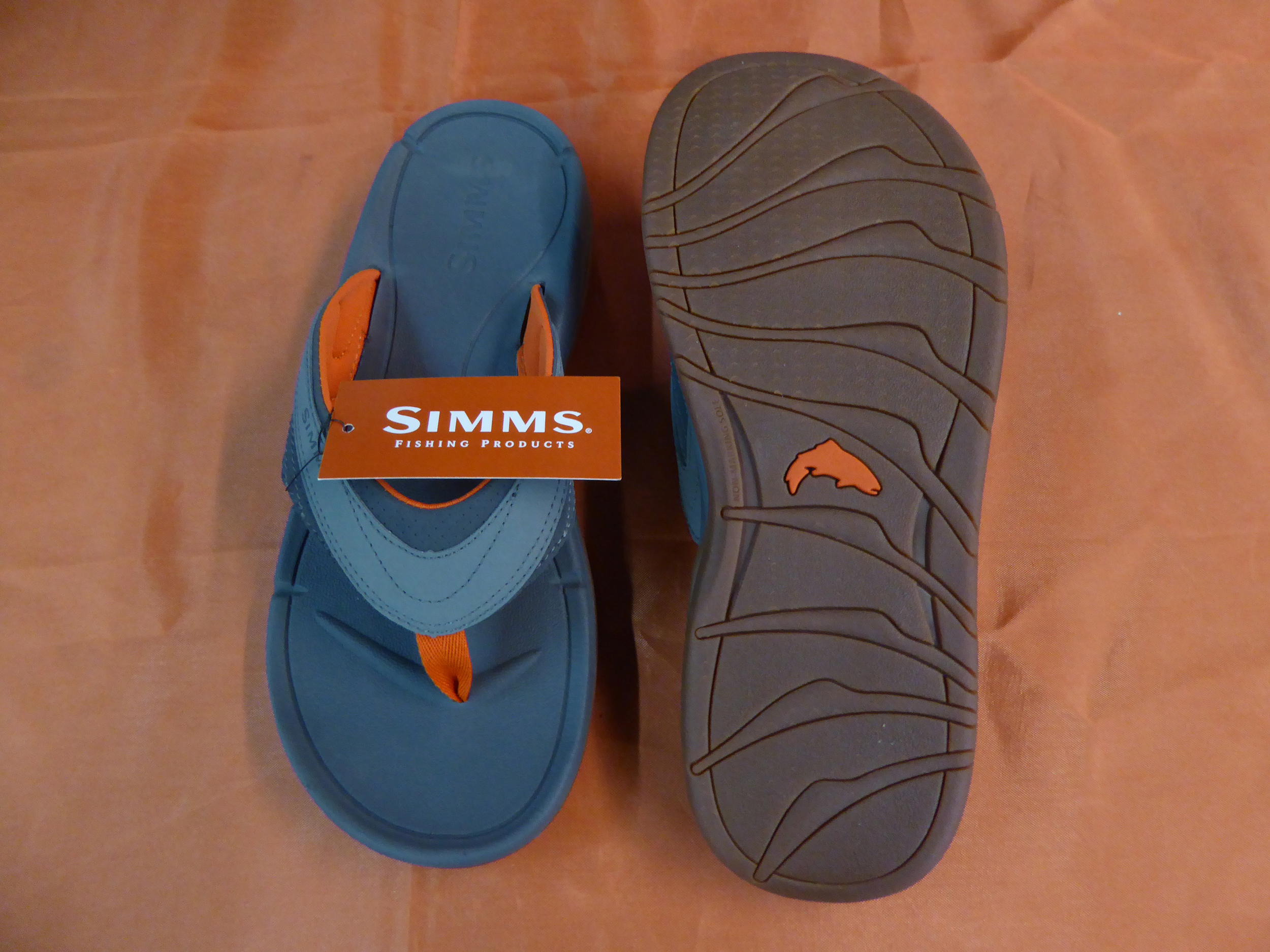 Simms Atoll Flip, synthetic nubuck/cotton toe webbing upper, sizes 5 – 14 whole sizes, D width, approximate pair weight (size 10): 15 ounces