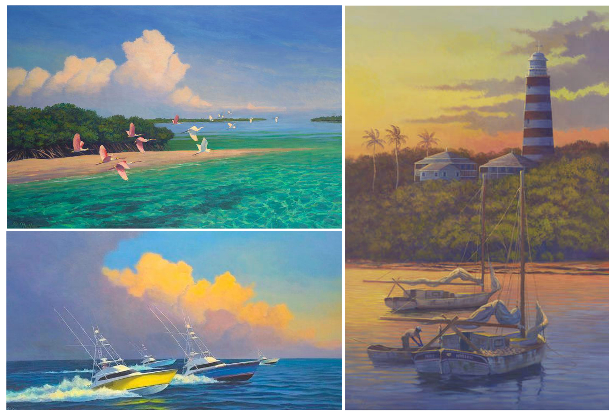 "Top left to clockwise; "" Across the Bar"", ""At Anchor"" – Smack Boats anchored up off Hopetown Bahamas circa 1960, ""Neck and Neck"" – Race from the Edge at Custom Shootout Tournament Boat Harbor Bahamas"