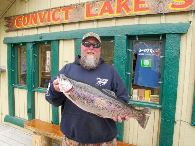 John Montgomery with the 9lbs 9oz beast out of Convict Lake – Photo by  Convict Lake Resort