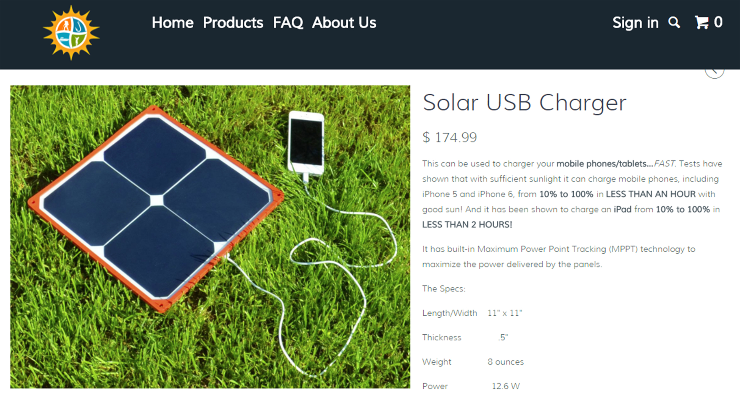 Charging times are based on available sun.  Suction Cup Ram Mount not included.