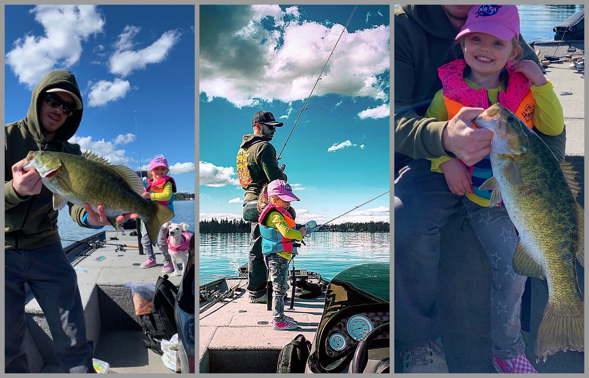 The best fishing has to offer; Steven Zuloaga out on his new home waters enjoying fishing with his daughter Evynn and their pet Lenna, good times!