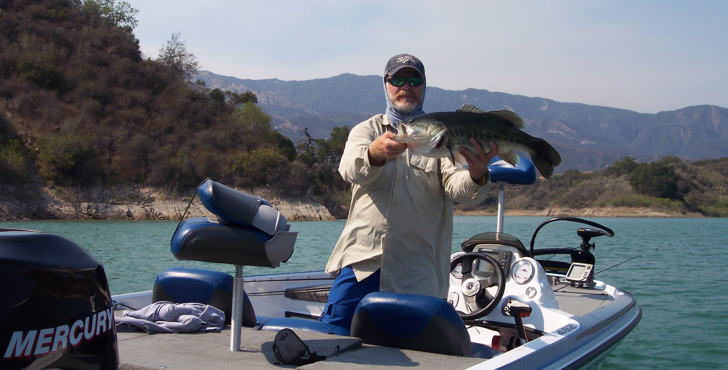 The author with a hefty Casitas Lake Largemouth Bass caught with a drop-shot set-up.