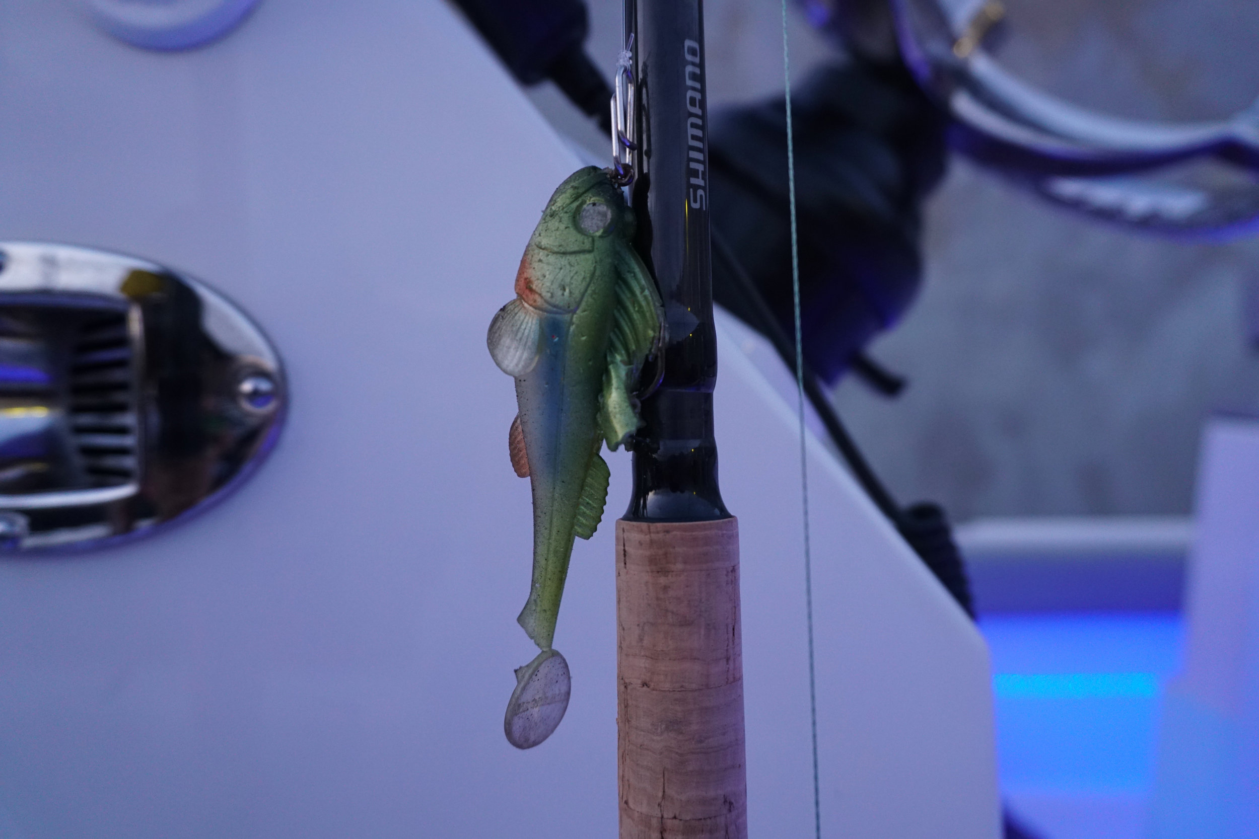 The 1-ounce MegaBass Dark Sleeper in the Hanahaze pattern (bait's tail is torn in the image).
