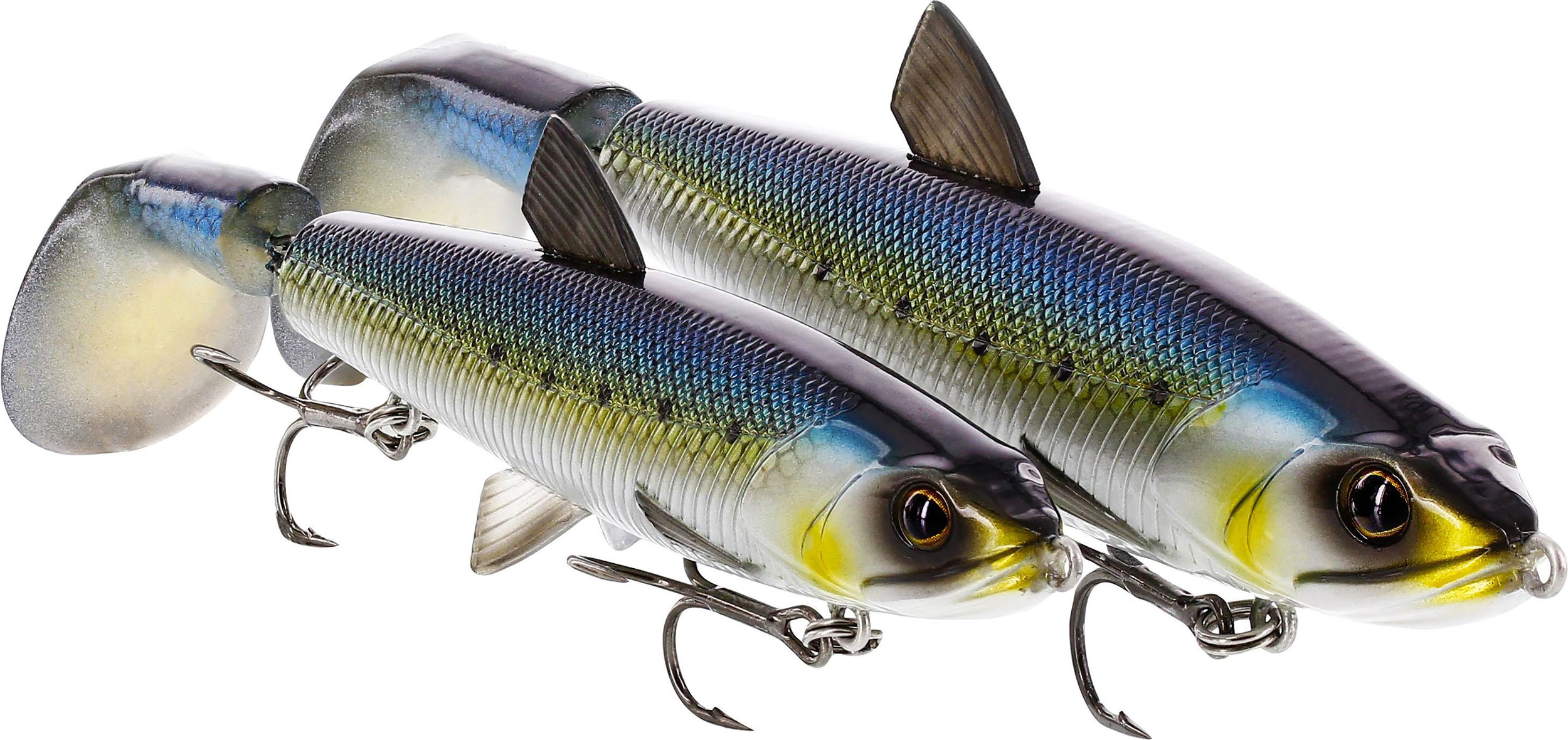 "Booth 1236. Westin HypoTwist. This super realistic topwater bait has a rotating soft tail that wreaks havoc with loud plopping sounds and chaotic surface disturbance on the retrieve. HypoTwist comes in two sizes 4 ½"" and 5 ½"" to suit every situation."