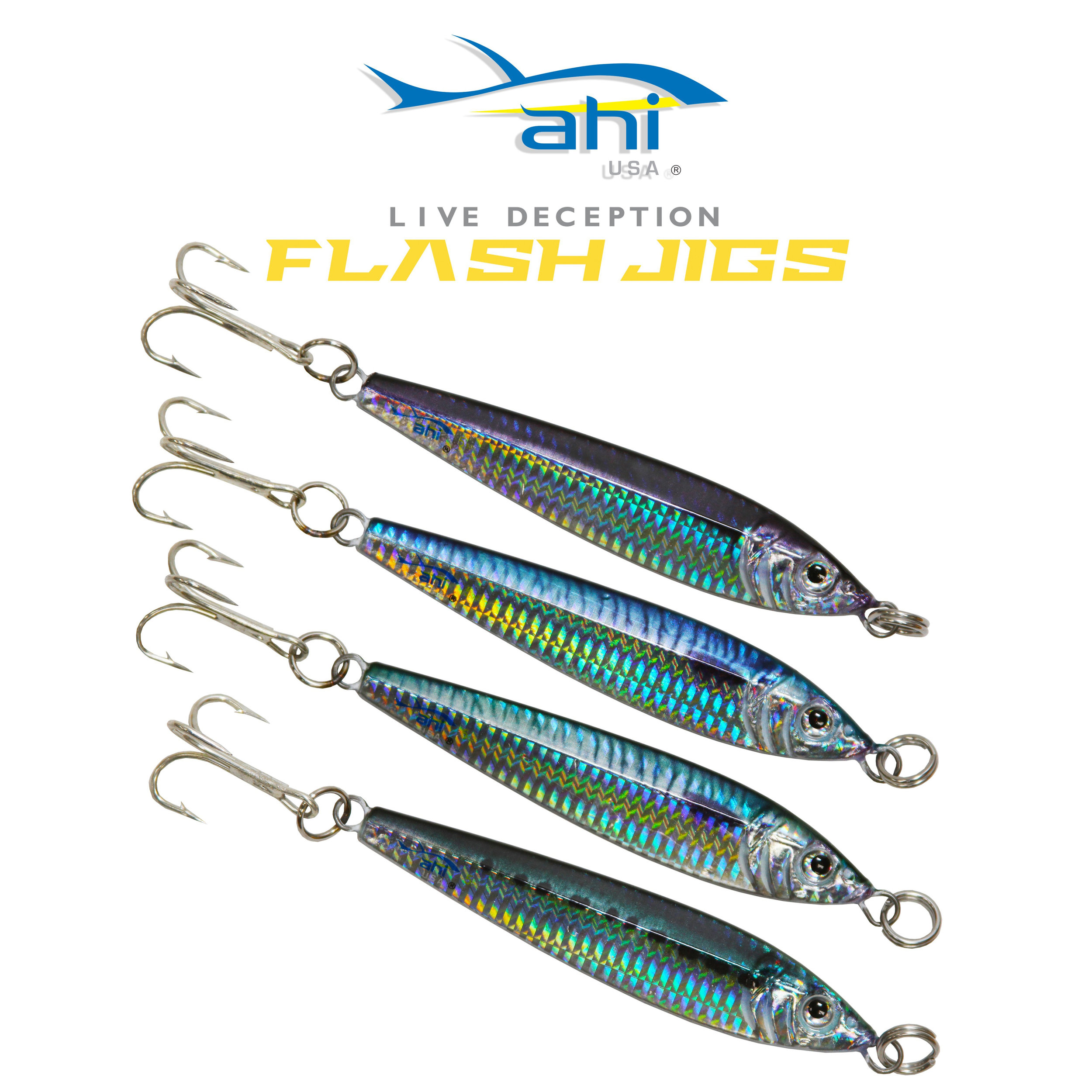 Booth 4234. The result of combining the latest technology in image transfer and laser printing with a state of the art 3-D holographic reflective finish. All the realistic baitfish patterns of the Ahi-USA Live Deception Jigs © are matched with a reflective finish which emulates fish scales.