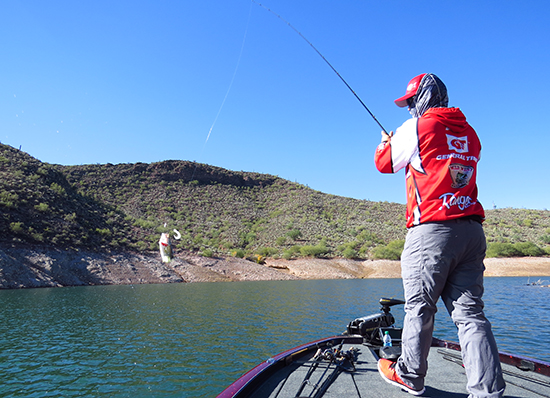 With a clear, high pressure day like this, Tai downsizes and slows his baits