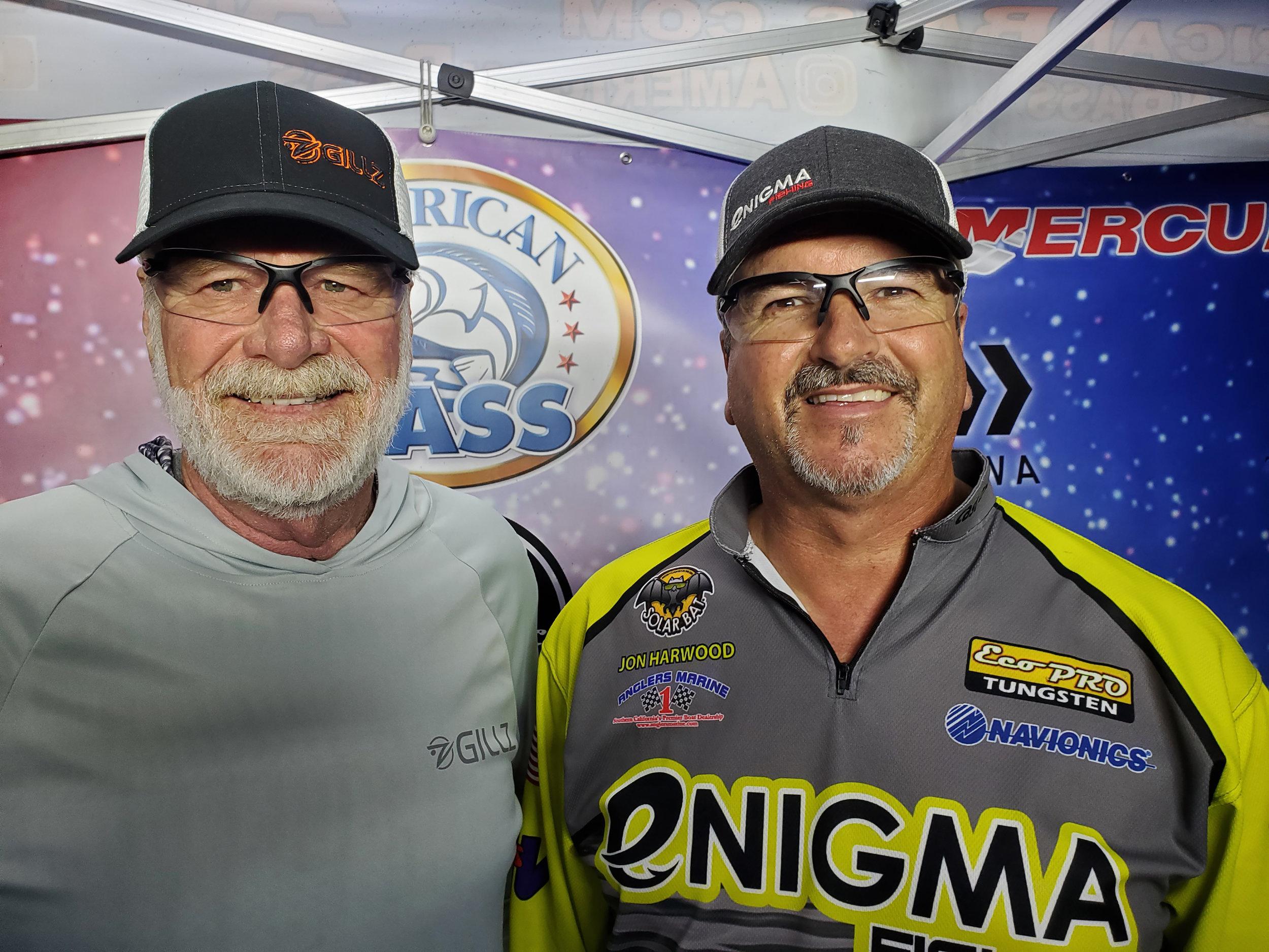 Team Jon Harwood, right, and Derrek Stewart fishing American Bass Piru Nights bass tournament.