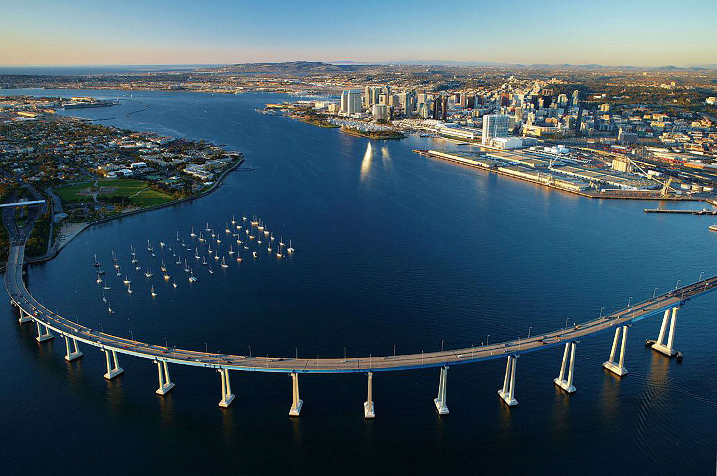 San Diego Bay, with its iconic Coronado Bridge, represents just one of SoCal's many harbors with great fishing opportunities. Phillip Colla / oceanlight.com