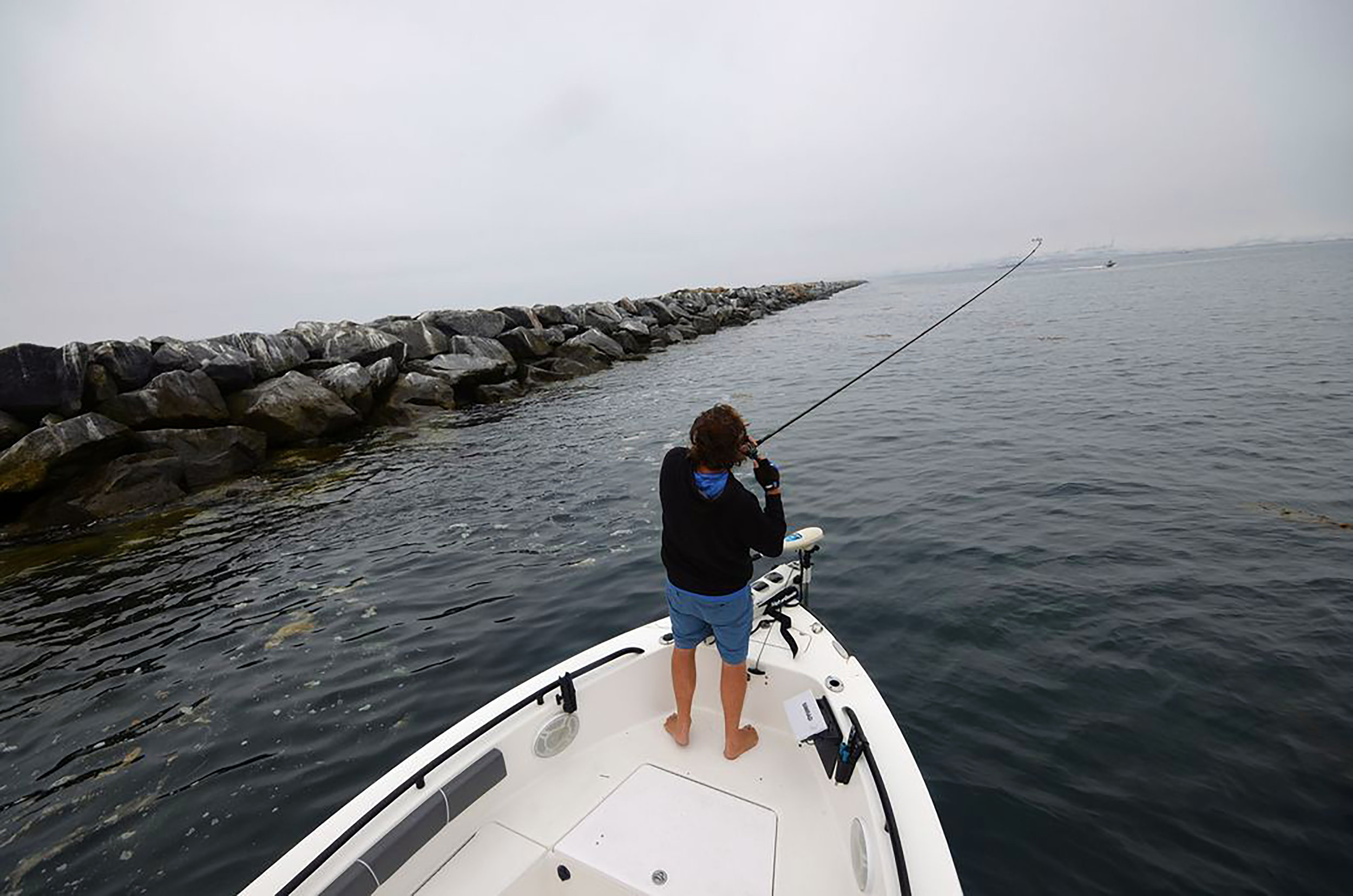 The 8.3-mile-long Federal Breakwater protecting Los Angeles and Long Beach harbors provides ideal hunting habitat for barred sand bass, kelp bass and other predatory fish. Erik Landesfeind