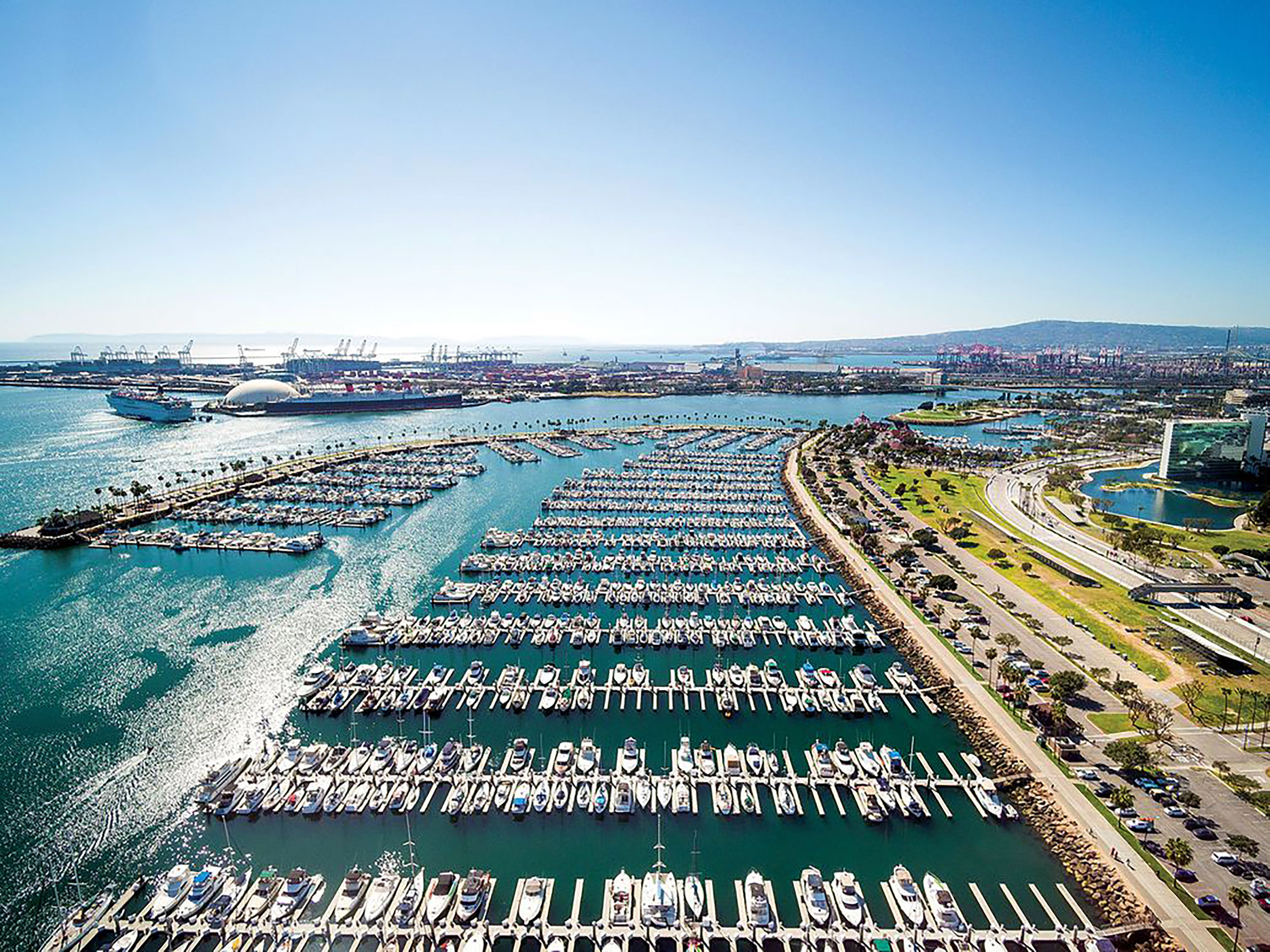 LA/Long Beach Harbor offers a wide range of fish-attracting structure, including docks, pilings and rocky shorelines. With least 20 miles of riprap to fish here, anglers won't run out of places to cast.  Courtesy Long Beach Visitors and Convention Bureau