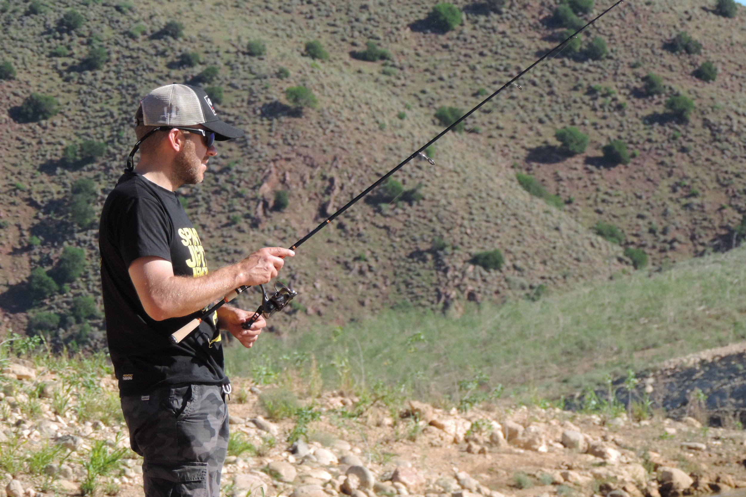 Just slowly reeling in the c-rig to keep my soft bait in the strike zone.