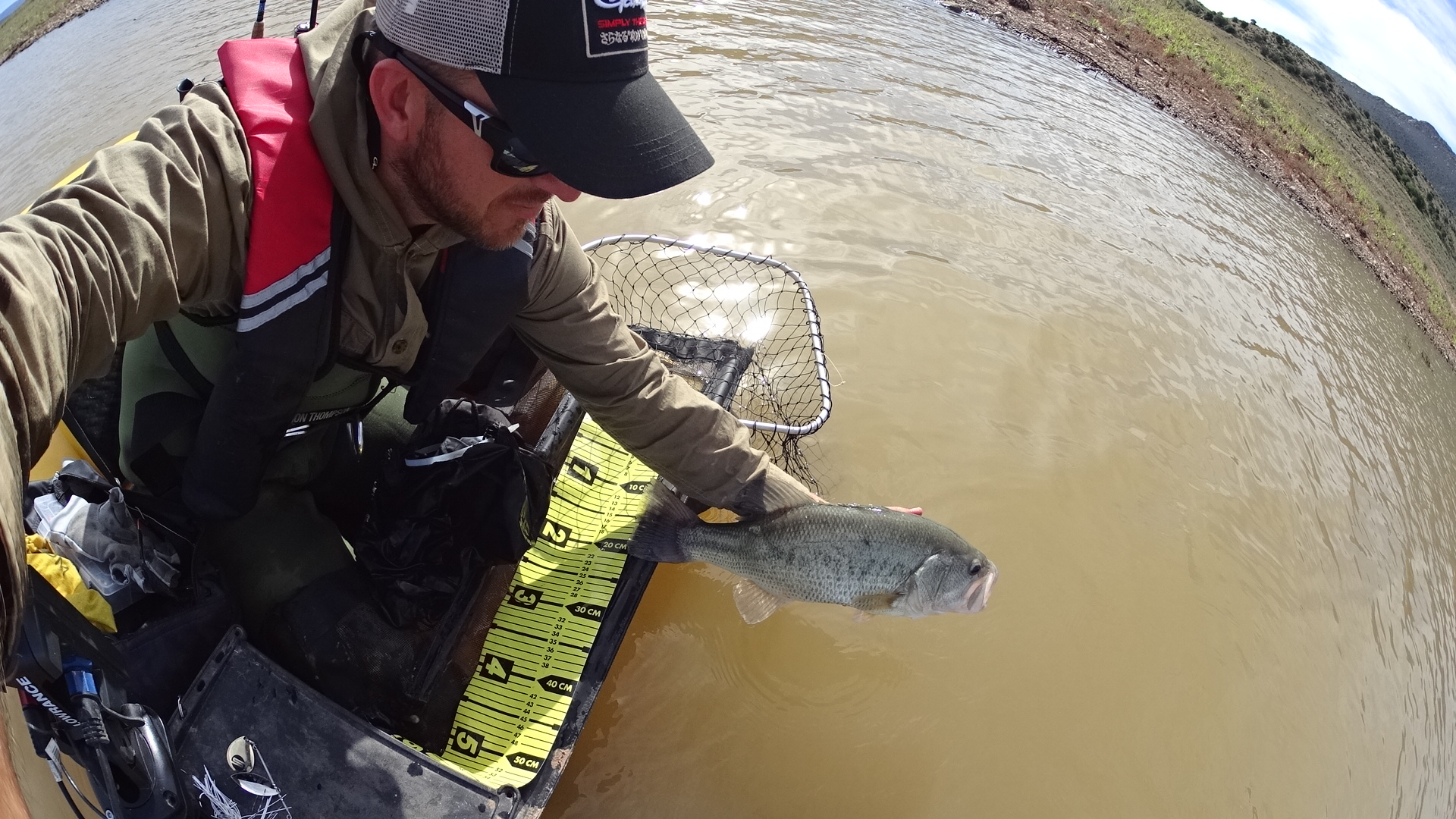 Catch and release, on this shallow flat the pimped spinnerbait triggered this 4.76 lb. bass.