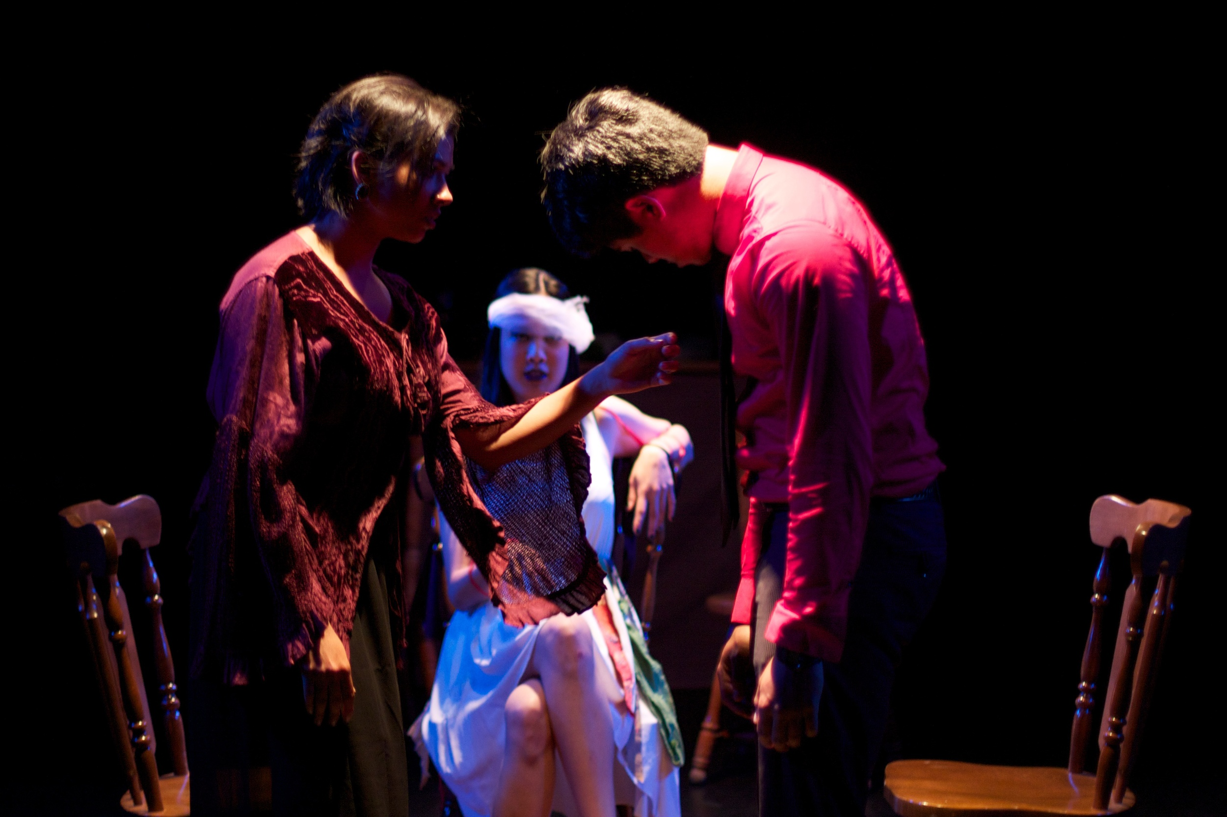 Farah (Arohi Sharma), Simorgh (Vicky Le), & Eli (Jordan Arce)  Photo courtesy of Stephen M. Woo.