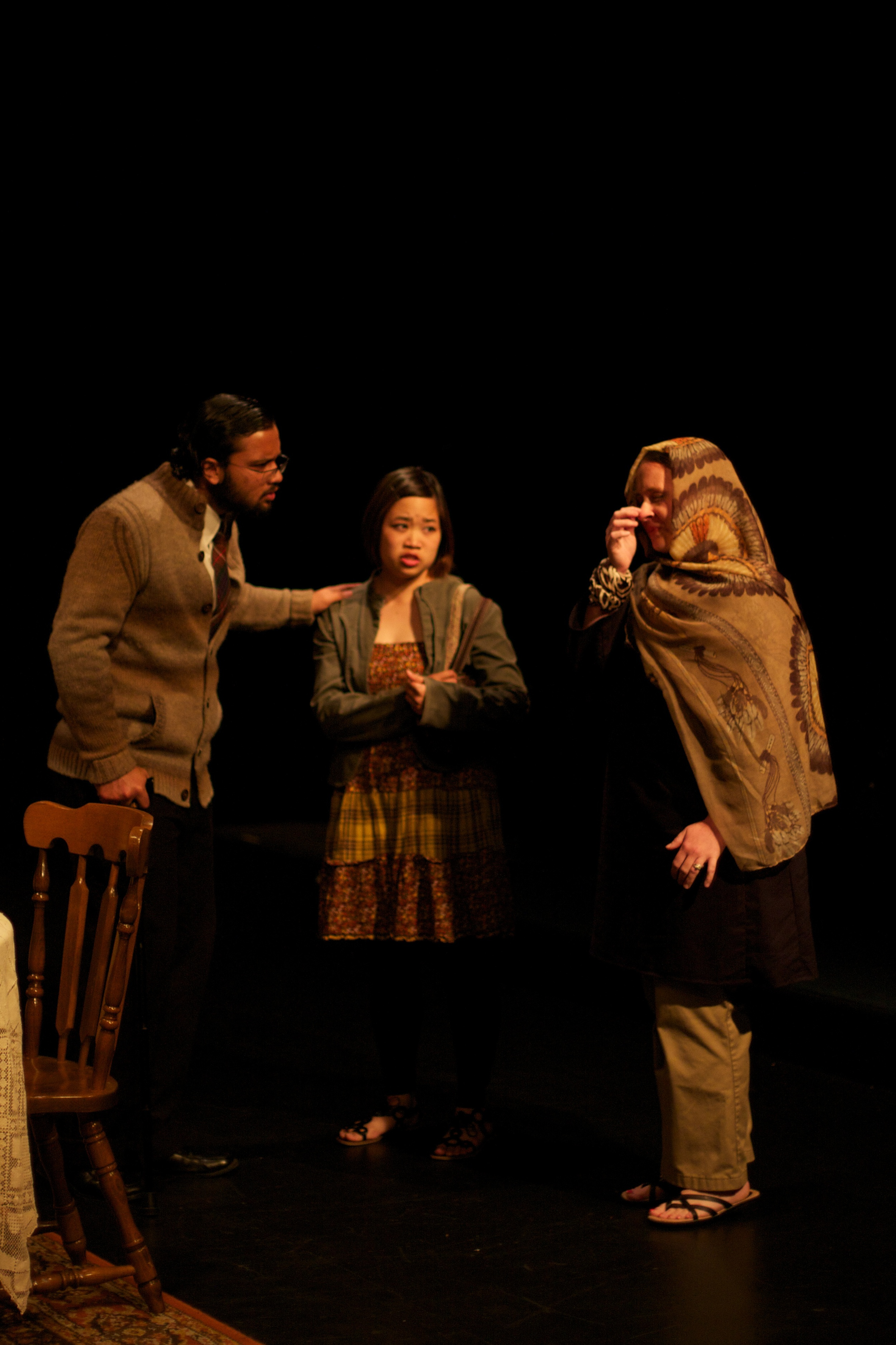 Reza (Abhinav Jha), Lily (Gwendolyn Leong), & Souri (Nicole Rohde)  Photo courtesy of Stephen M. Woo.