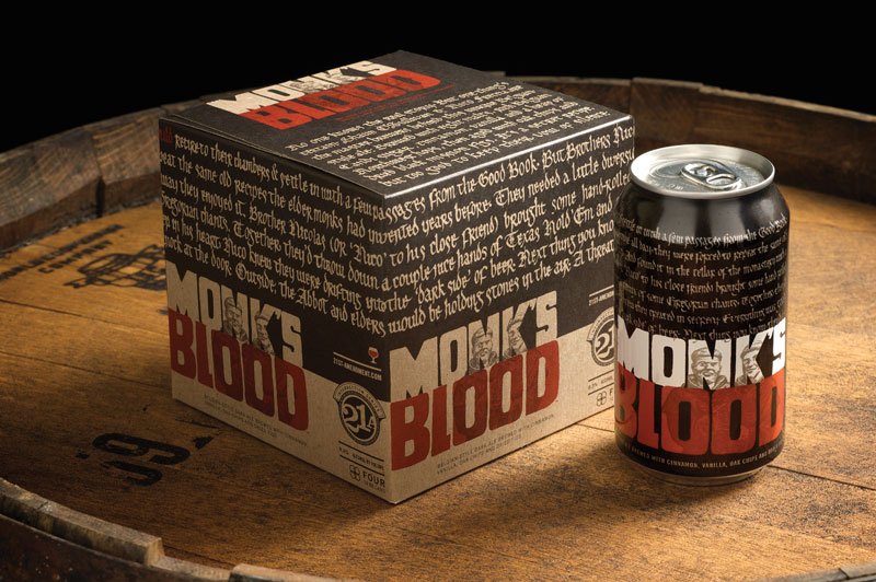 """MONK'S BLOOD -    Copy on Can / Packaging: Legend has it that in the evenings, the monks would retire to their rooms for the night and settle in with a few selected passages from the goo book. But Brothers Nicholas and O'Sullivan had something else in mind. Having been forced to repeat the same old recipes the elder monks developed years ago, they needed to concoct a little entertainment of their own. And they found it in the basement of the monastery with a fresh new twist on the beer and how ie was imbibed. Nicholas (or """"Nico"""" to his close friend) would bring a few choice cigars and questionable magazines. O'Sullvan, the outspoken one, broke the wow of silence by piping in some dance music with a driving beat. Together, they'd throw down a couple of hands of 7-card stud and enjoy the handcrafted brew they created in secrecy. But deep in his hear Nico knew they were drifting to the """"dark side"""" of beer. Next thing you know they'd be skipping lent. Then one night they would face the wrath for their actions with a hard knock at the door. On the other side the Abbot and elders held stones in the air. It was a threat the brothers were sure would lead to plenty of  MONK'S BLOOD ."""