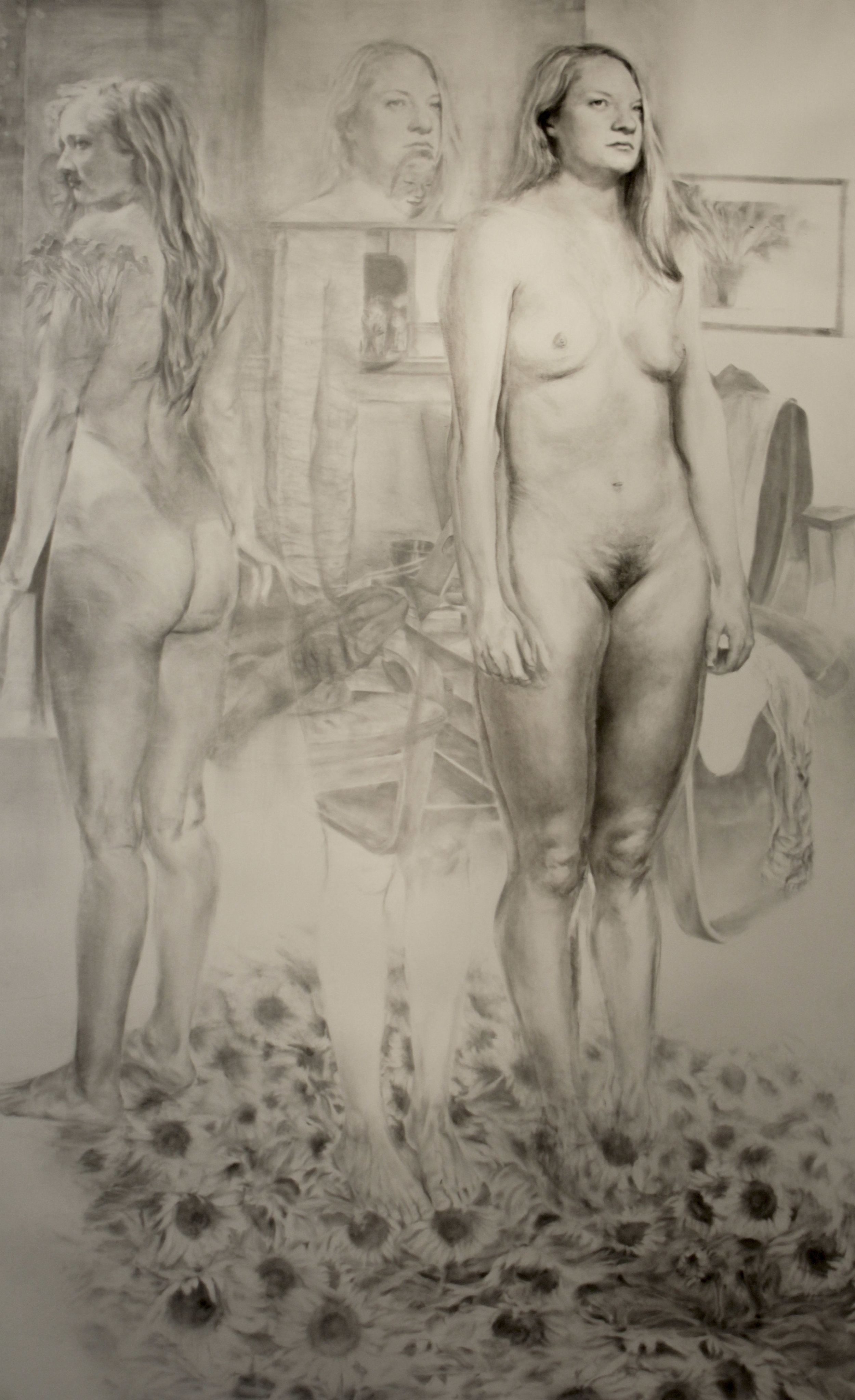 Triple Portrait, Charcoal and Graphite on Paper, 98 x 60in.jpg