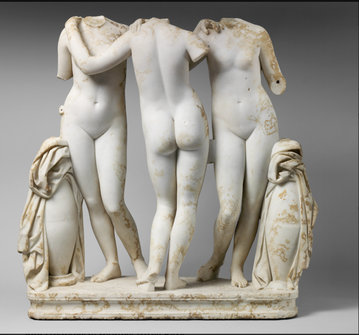 One side... with two like bottoms on the other. Roman copy of a Greek sculpture, Metropolitan Museum of Art, New York