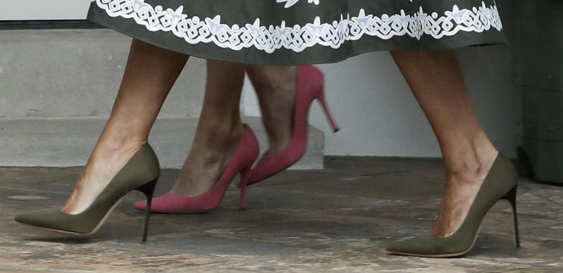 Eucch, I hate these shoes. What is Melania's trying to prove -- that she can almost walk on air? Getty Images, again.
