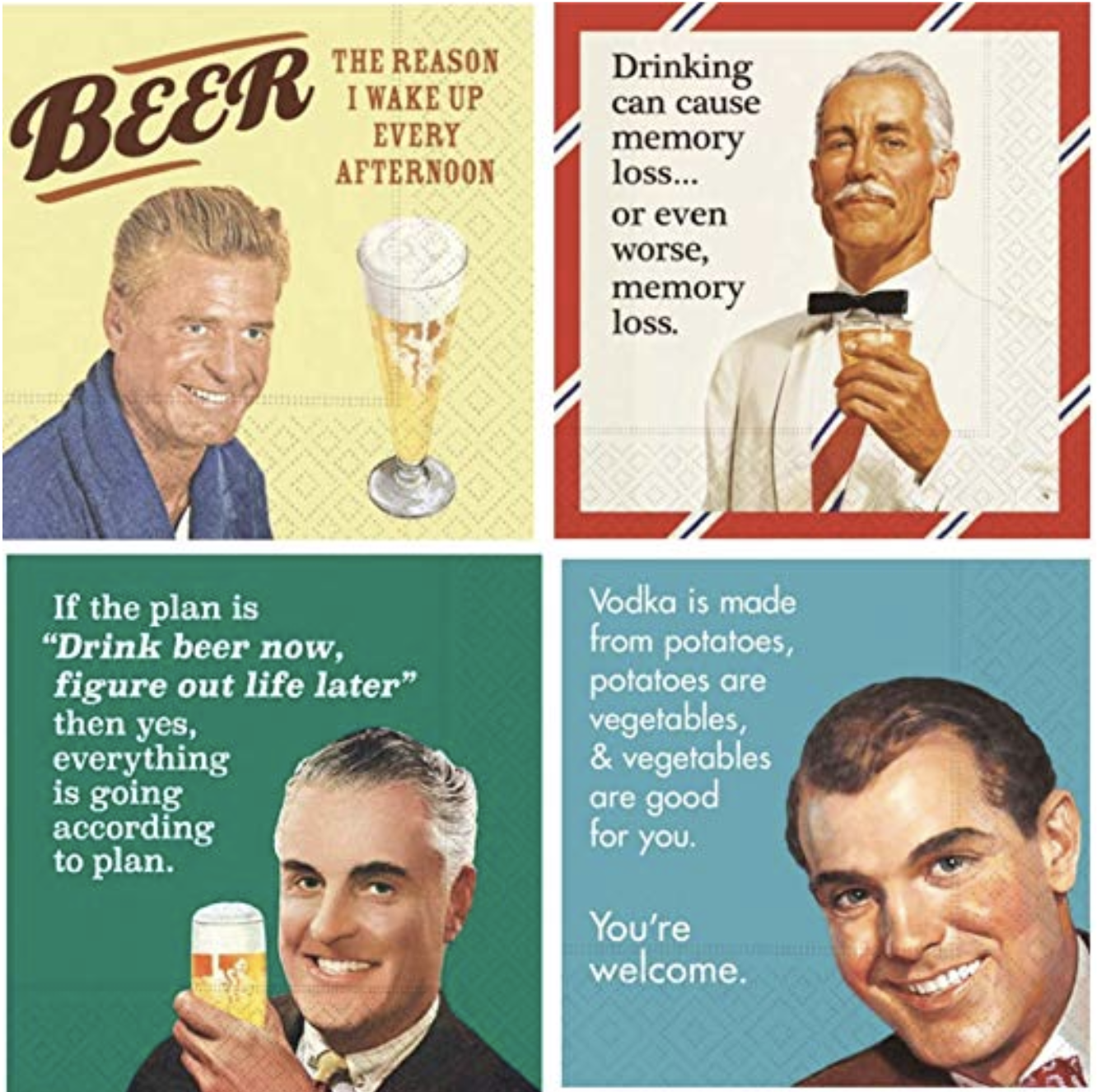 The amusing cocktail napkin at bottom right illustrates why I don't like 'you're welcome': it carries too strong a whiff of 'and now you  owe  me'.
