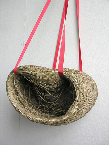 Spool Swing  made of Jute and organic fish glue.